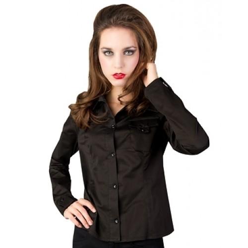 Black Pistol - Sleeve Blouse Fine Denim, Frauen-He
