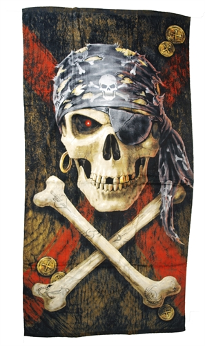 Anne Stokes - Pirate Skull, Badetuch