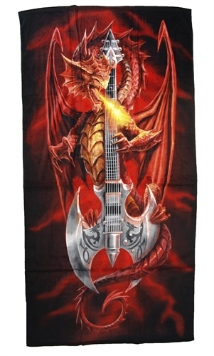 Anne Stokes - Dragon and Guitar, Badetuch