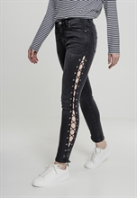 Urban Classics - Denim Lace Up Skinny, Girl-Hose