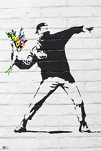 Banksy - Throwing Flowers, Poster